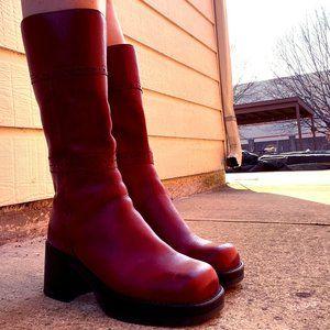 90's Platform Red Sketchers Boots